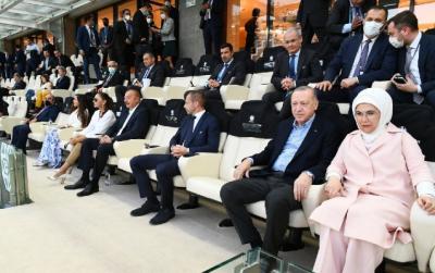 """Azərbaycan və Türkiyə prezidentləri BOS-dakı oyuna baxdılar - <b style=""""color:red"""">Şəkillər</b>"""